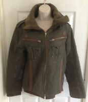 H&M mens green khaki jacket coat size S