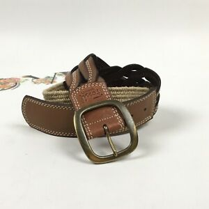 Fossil Woven Leather Belt & Woven Raffia Size Large