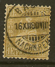 SWITZERLAND:1864 Sitting Helvetia 1F gold SG 60a used