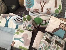DWELLSTUDIO Owl Sky CRIB SET + Extras Bundle 10 PIECES!! Boy Girl Bedding COTTON