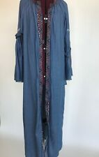 Unique Boho Tribal Cover Up Beach Beads Embroidery Long Dress Robe Women's M
