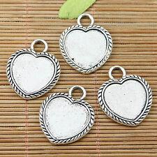 5pcs tibetan silver 2side heart shaped cameo 18*16mm cabochon settings EF1749