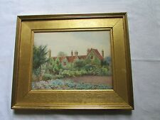"Antique signed Victorian watercolour garden gilt gesso NELLY HADDON 20"" X 16"""
