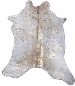 "Gold Calf Skin Rugs: ~35"" X 30"" Gold Metallic Acid Wash on Tan Color Calf Hide"