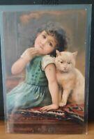 Kind mit Katze Prägedruck gelaufen