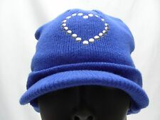 BLUE - WITH HEART - YOUTH SIZE 7/8 - STOCKING CAP BEANIE HAT! WITH BRIM!