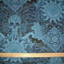 Cotton Fabric NEW Alexander Henry Elevated on blue chill Pot Marijuana BTY