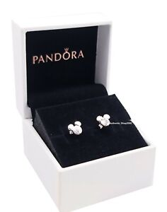 100% PANDORA Disney Mickey & Minnie Mouse Silhouette Stud Earrings 299258C01