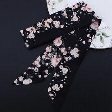Flower Black Silky Twilly Scarf Ribbon Bowtie Hair Handbag purse handle Wrap
