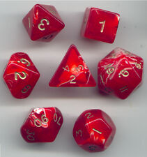 NEW RPG Dice Set of 7 - Marble Red D4 D6 D8 D10 D12 D20 D00-90