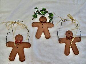 Set 3 Primitive Gingerbread Man Christmas Ornaments