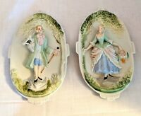 Two Vintage Occupied Japan Bisque Porcelain Chase Colonial Wall Plaques