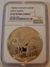 Panama 1980FM Gold 500 Balboas NGC PF69UC Great Egrets