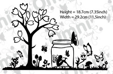 2x árbol pequeño de mariposa de hadas Vinilo de Pared Arte Pegatina Calcomanía decoración hadas