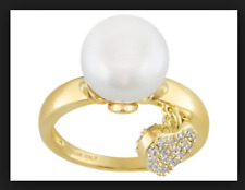 Emulous White Cultured Freshwater Pearl Bella Luce18k Plated Gold Ring 9