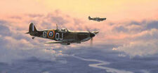 Battle of Britain print Home At Dusk signed by RAF Spitfire pilots inc G. Wellum