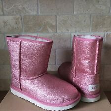 UGG Classic Short II Glitter Sparkle Pink Boots Youth Kids Girls 5 = Womens US 7