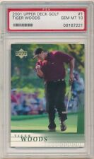 TIGER WOODS 2001 UD UPPER DECK GOLF #1 RC ROOKIE CARD PSA 10 GEM MINT $800+