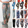 Women's Drawstring Floral Palazzo Pants Gypsy Baggy Straight Yoga Loose Trousers