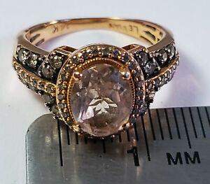 LeVian, 14k Rose Gold, Morganite & Diamond Ring. Size 5.25. (4.8g). (B01082021)