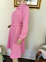 70's Vintage Pink Retro Long Sleeve Blouson Dress