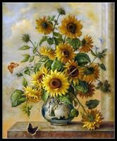 Sunflowers in Vase - Chart Counted Cross Stitch Patterns Needlework DIY DMC