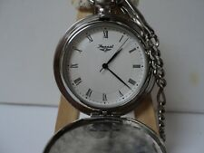 FOSSIL DOUBLE WING POCKET WATCH /CHAIN/NEW BATTERY INSTALLED