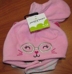 NEW JUMPING BEANS BABY GIRLS PINK KITTY HAT & MITTEN SET 6-18M