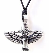 Pewter Egyptian Goddess ISIS Pendant on Black Cord Necklace Nickel Free