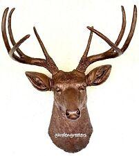 FAUX BRONZE DEER HEAD 8 POINT BUCK WALL MOUNT DECOR