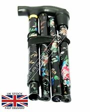 NEW BLACK STRONG Aluminium Folding Walking Stick Floral Ladies Women Woman BS04