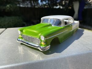 Drag Slot Car Hard Body, Drag Racing,1955 Chevy BelAir, Lime Green And White
