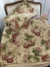 Pretty Pair King Size Peony Floral Ruffled Pillow Shams Farmhouse Cottage