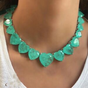 1001 NIGHT SULTANA DUBAI NECKLACE NATURAL HEART COLOMBIAN EMERALDS COLLAR 925 SS