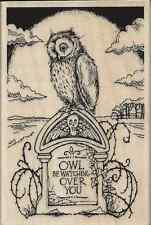 """Tombstone Owl"" Rubber Stamp by Stampendous"