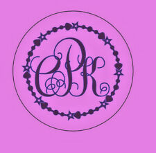 """Monogram, Iron On Fabric Decal, 3 Letters Surrounded By Beads And Stars 3.5"""""""