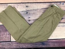 LLM27 NEW LL BEAN Flat Front Natural Fit Olive Brown Dress Pants Men/'s 29 x 36