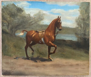 "ANTIQUE SIGNED ""ROBERT HARRISON"" HIGHLY LISTED HORSE OIL PAINTING 15"" X 18"