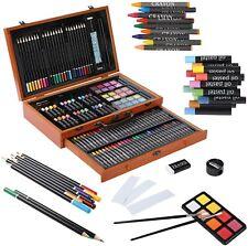 142pcs Art Set Artist Draw Kit Color Pencil Crayon Oil Pastel Paint Brush w/ Box
