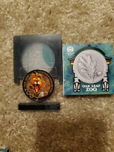 2019 Germania 5 Mark Lion The Oak Leaf Zoo Series 1oz Colorized Silver Coin