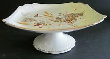 """Victorian Transferware Footed Cake Plate Flowers Butterfly Daisies 8.5"""" Wide"""