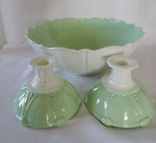 Anchor Hocking OYSTER & PEARL 3 pc set Large Bowl and pair of Candlesticks