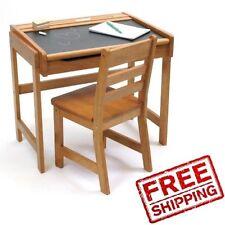 Kids Desk Set Chair Wood Table Chalkboard Home Study Storage School Furniture