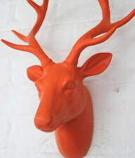 Large funky neon orange stag / deer head - wall mounted approx W:350mm H:430mm