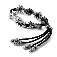 MENDINO Men's Stainless Steel Leather Bracelet Tribal Dragon Bangle Adjustable