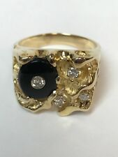 Hand made Nugget 14 kt yellow  gold diamond& Anex Ring finger size 12.5