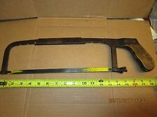 rare antique NEWELL hack saw with unique steel clad wood handle vintage old tool