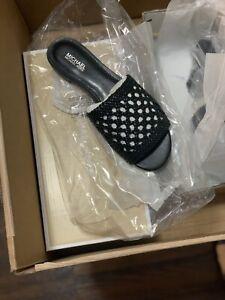 NIB $99 MICHAEL KORS Augustine Acorn Woven Slide Sandal Sz 6