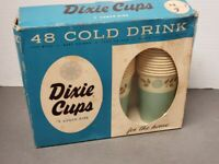 Vintage 1950's Full Box 48 Cold Drinking DIXIE CUPS 7 oz. Petal Design NEW NIB