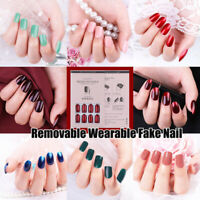 24PCS Fake Nails Reusable Stick On Nails Press on Full Cover False Nail Tips💙